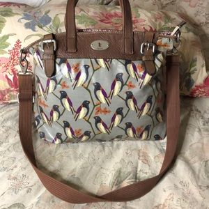 FOSSIL Bird SACHEL Tote Bag Waxed Cotton Leather